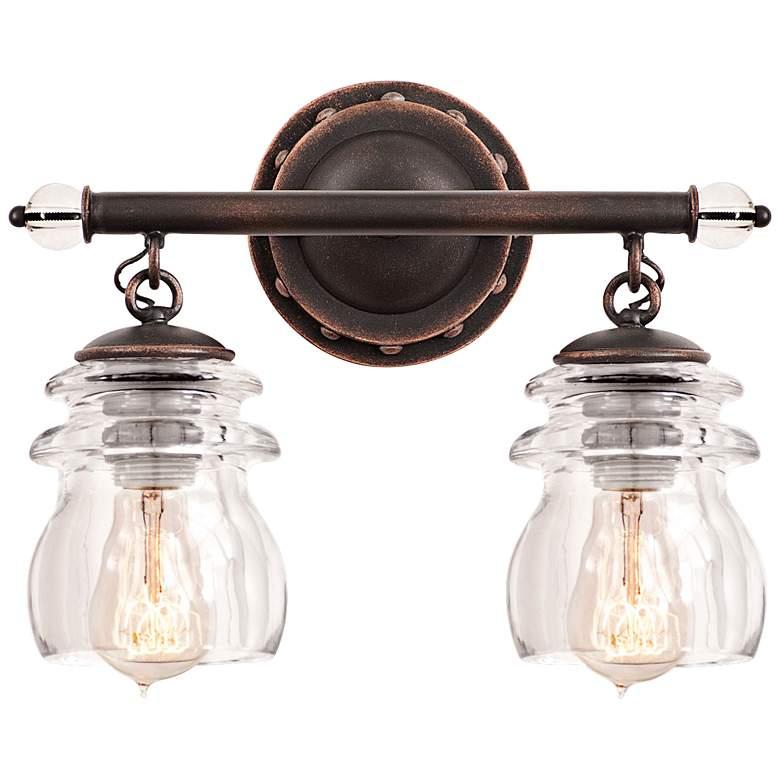 "Brierfield 13 1/4"" Wide Antique Copper Bath Light"
