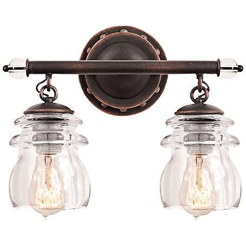 "Brierfield 13 1/4"" Wide Antique Copper Bath Light"