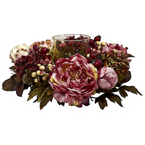 """Peony and Hydrangea 16"""" Wide Holiday Faux Floral Candelabrum"""
