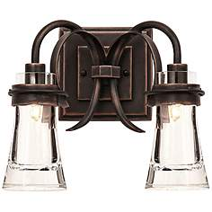 Copper bathroom lighting lamps plus dover 13 wide antique copper 2 light bath light aloadofball Image collections