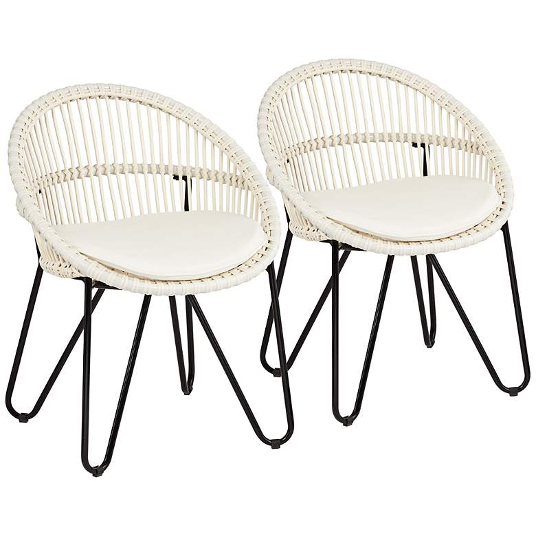 Luna White Outdoor Accent Chairs Set of 2