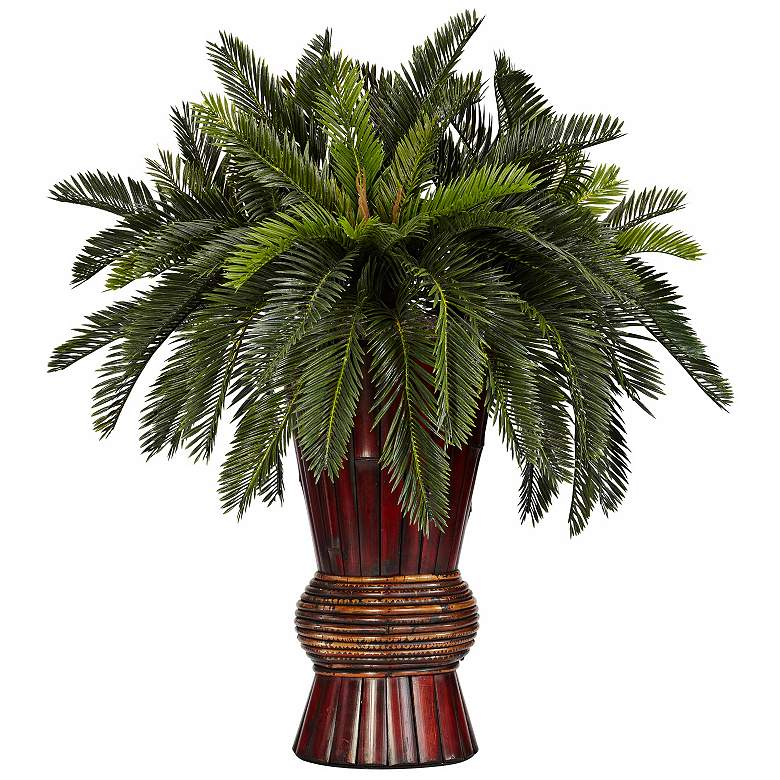 """Oriental Cycas Grass 29"""" High Faux Plant in a Bamboo Vase"""