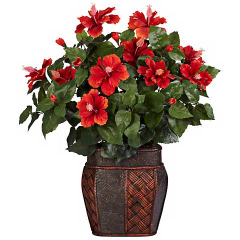 """Red Hibiscus Flowering 24""""H Faux Plant in a Decorative Urn"""