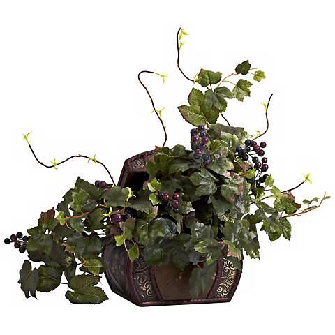 "Wild Grape Leaf 24"" Wide Faux Plant in a Treasure Chest Pot"