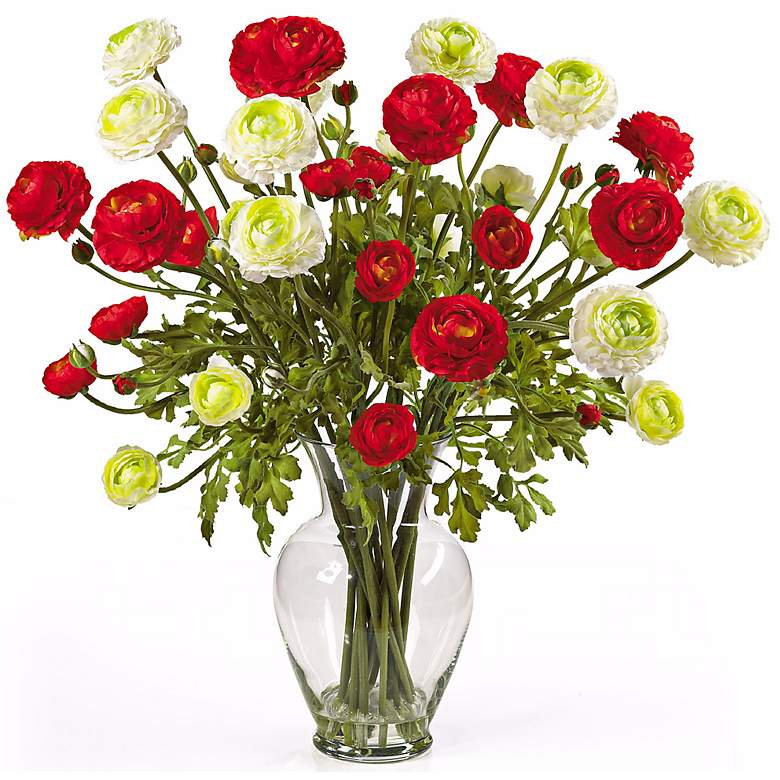 """Red and White Ranunculus 24""""W Faux Floral Bouquet in a Vase"""
