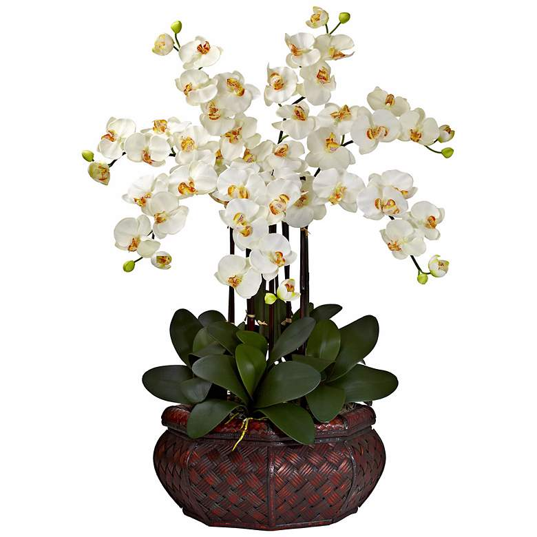 """Large Cream Phalaenopsis 30""""H Faux Orchid in a Woven Basket"""