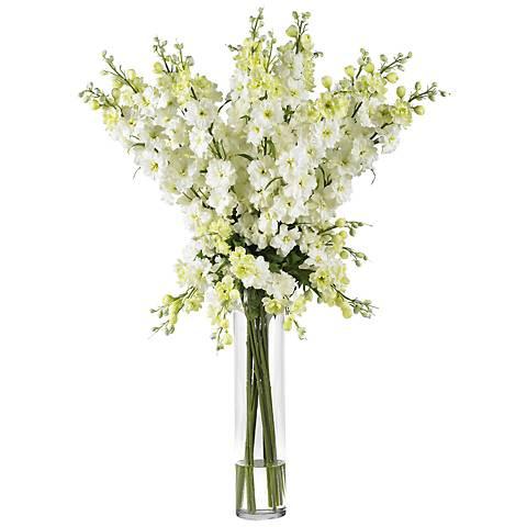 """White Delphinium 38""""H Faux Floral Bouquet in a Glass Vase"""