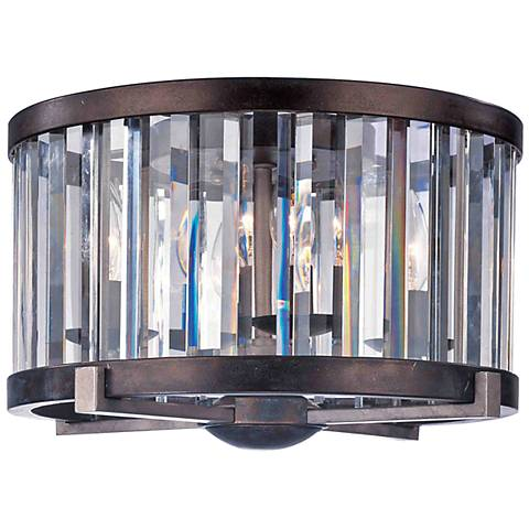 "Foster 9 1/2"" High Grecian Bronze Crystal Ceiling Light"