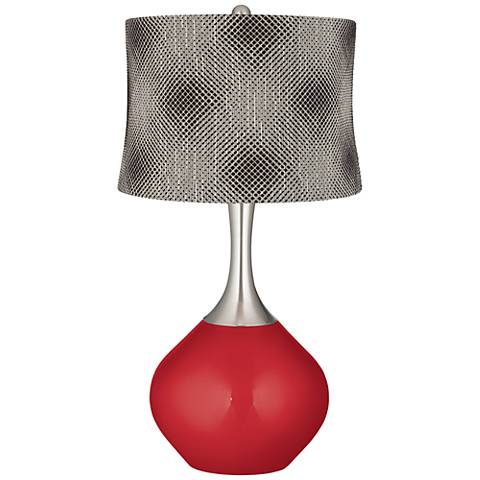 Sangria Metallic Black Pixels Shade Spencer Table Lamp