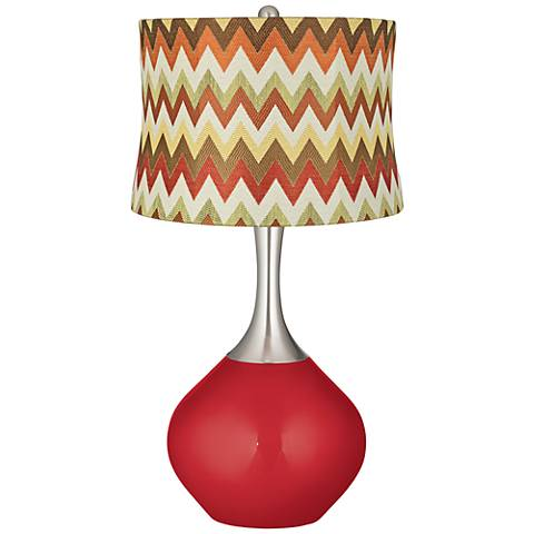 Sangria Metallic Red and Brown Chevron Shade Spencer Lamp