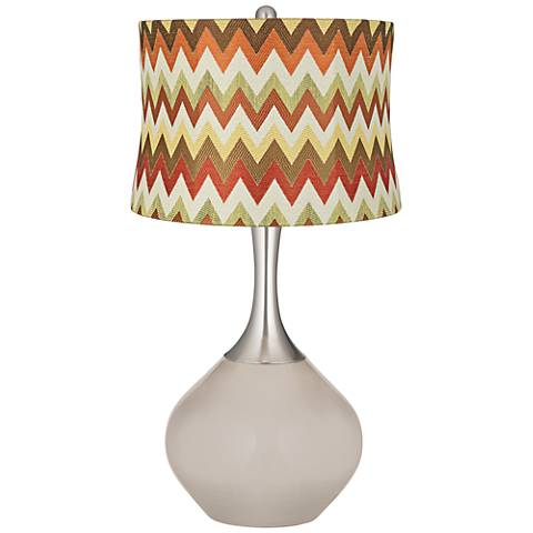 Pediment Red and Brown Chevron Shade Spencer Table Lamp