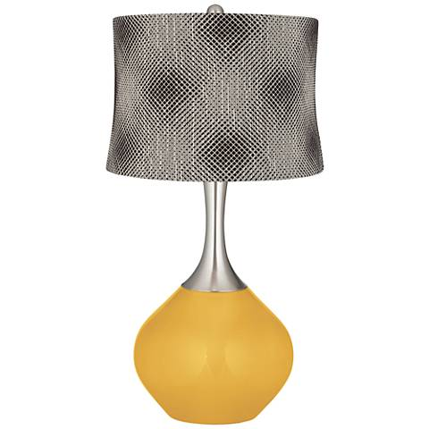 Goldenrod Black Pixels Shade Spencer Table Lamp