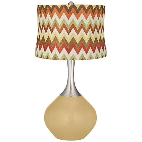 Humble Gold Red and Brown Chevron Shade Spencer Table Lamp