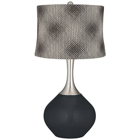 Black of Night Black Pixels Shade Spencer Table Lamp