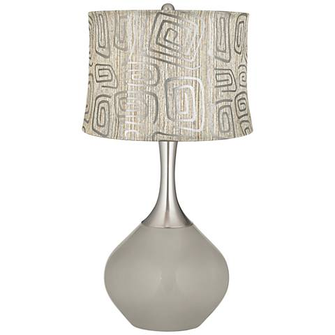 Requisite Gray Spiral Squiggles Shade Spencer Table Lamp