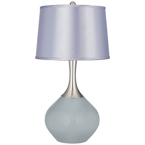 Uncertain Gray Satin Periwinkle Shade Spencer Table Lamp
