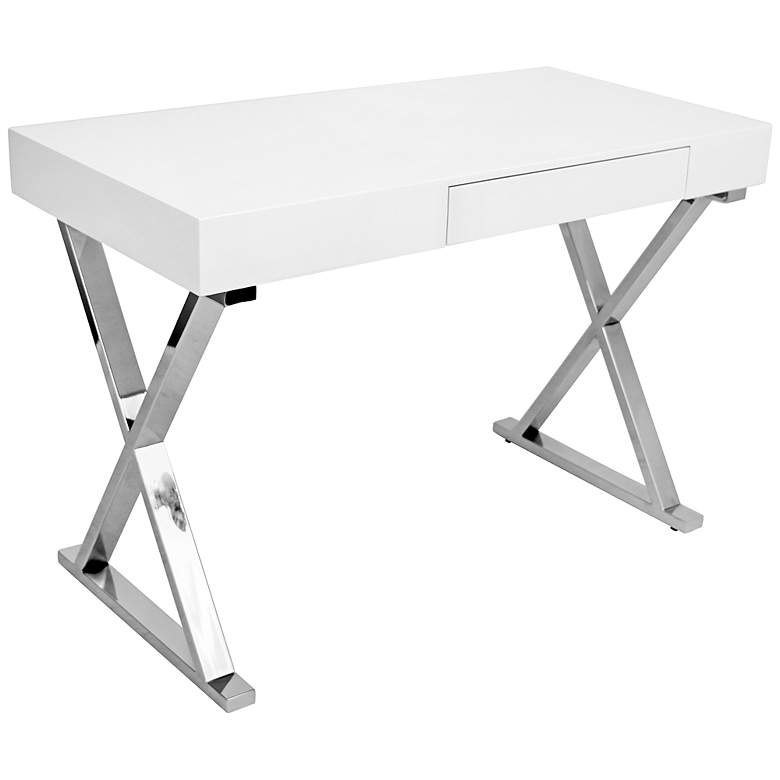 """Luster 43 1/4"""" Wide Glossy White and Chrome Modern Desk"""