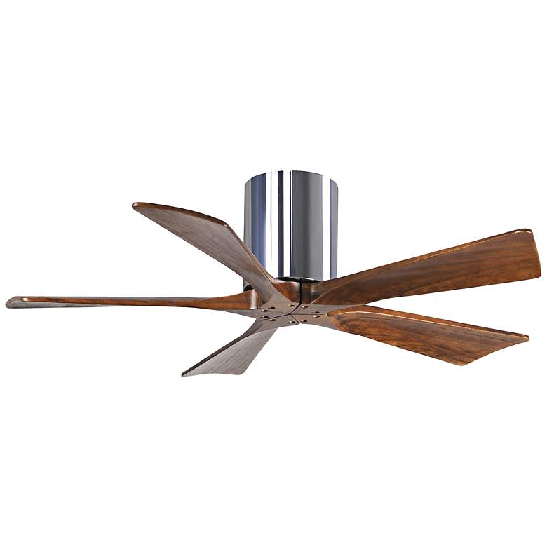 "42"" Matthews Irene 5-Blade Walnut-Chrome Hugger Ceiling Fan"