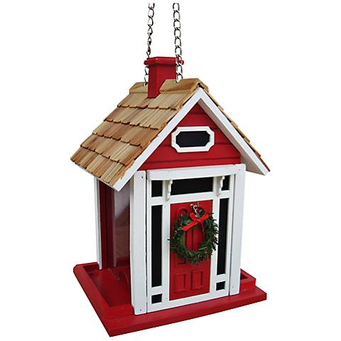 Christmas Cottage Red Bird Feeder