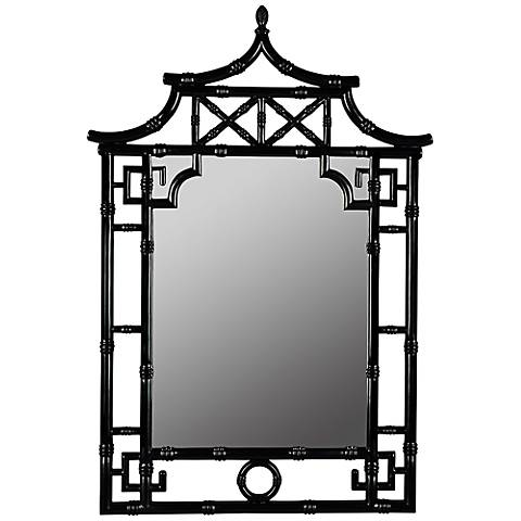 "Cooper Classics Pagoda Black 28 1/2"" x 42"" Wall Mirror"