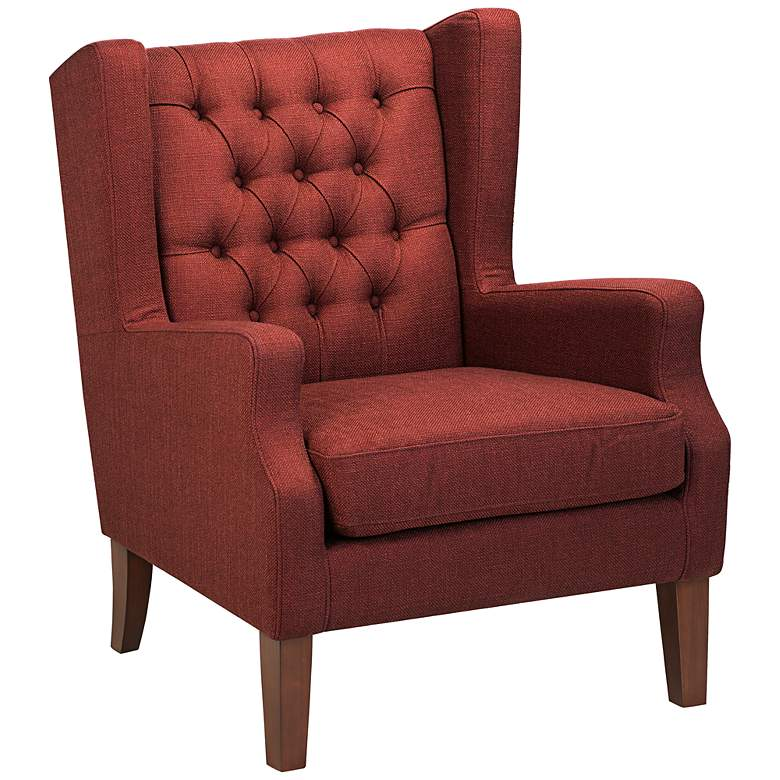 Maxwell Lillian Tufted Russet Red Armchair