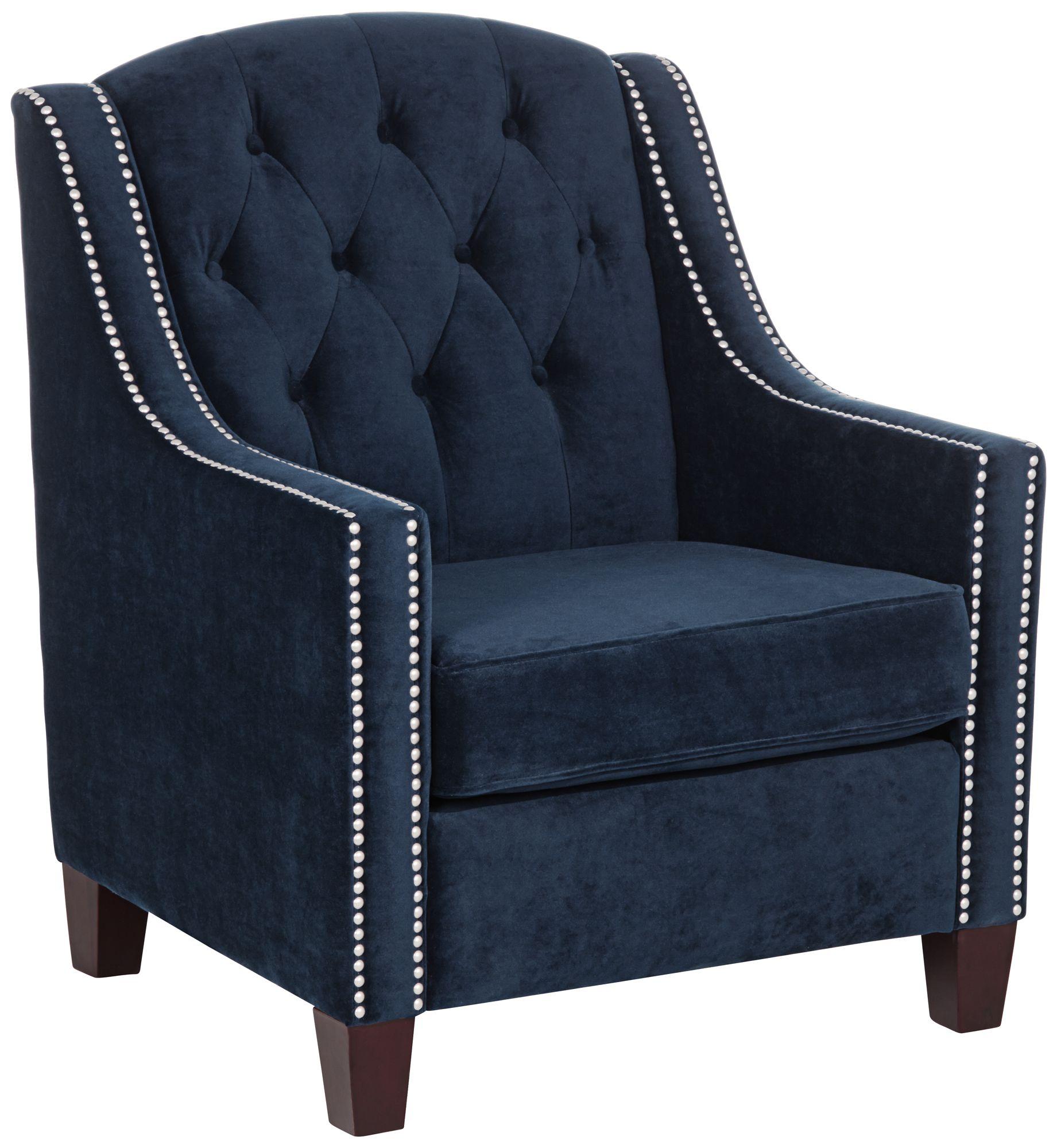 Merveilleux Tivoli Bella Ink Blue Velvet Tufted Armchair