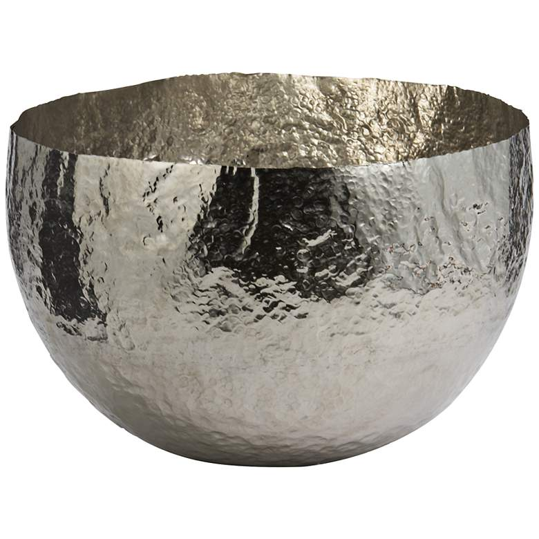 "Xylo 13"" Wide Hammered Nickel-Plated Large Bowl"