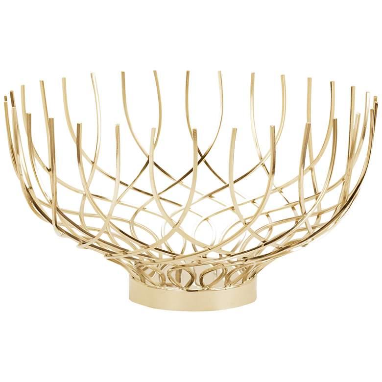 """Vortex 20"""" Wide Spun Gold Open Weave Dish"""