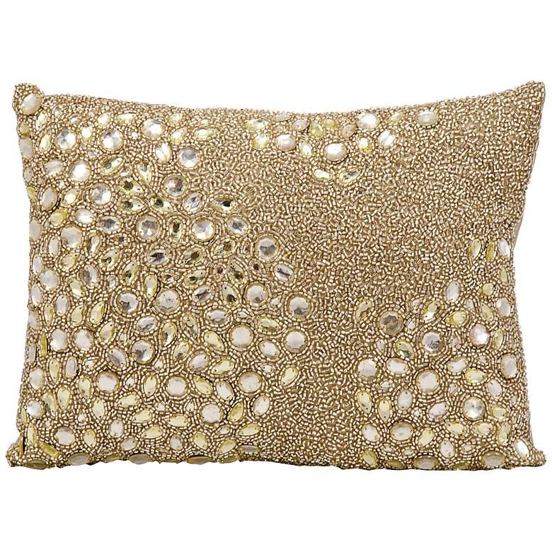 "Mina Victory Luminescence Beige 14"" x 10"" Beaded Pillow"
