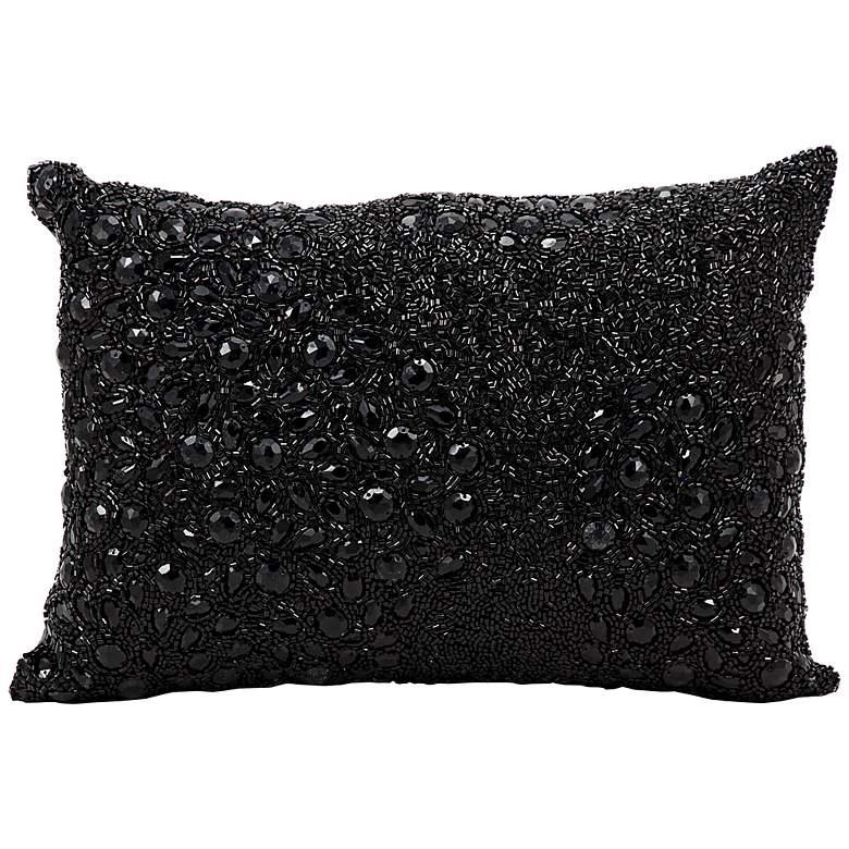"""Mina Victory Luminescence Black 14"""" x 10"""" Beaded Pillow"""