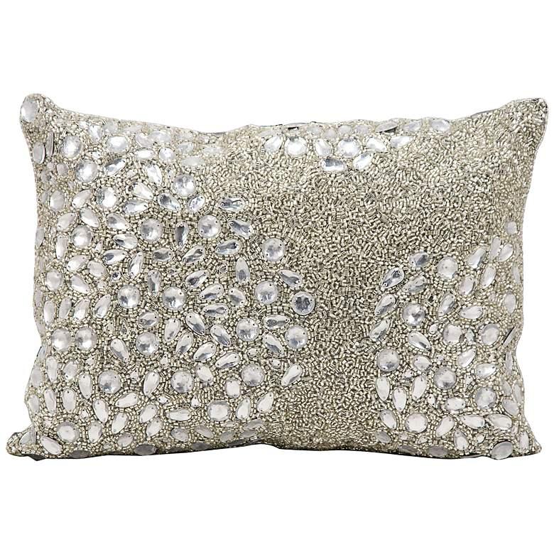 """Mina Victory Luminescence Glitz Silver 14""""x10"""" Throw Pillow"""
