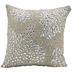 "Mina Victory Luminescence Silver 16"" Square Beaded Pillow"