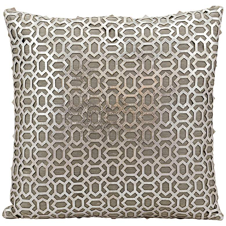 """Mina Victory Laser-Cut Silver 18"""" Square Leather Pillow"""