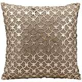 "Mina Victory Laser-Cut Gold 18"" Square Beige Leather Pillow"