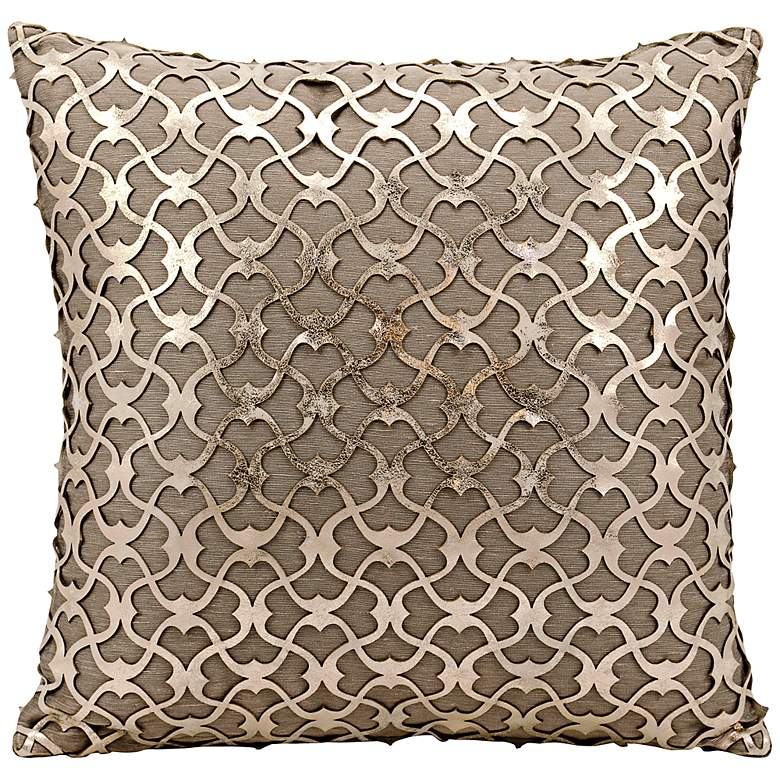 """Mina Victory Laser-Cut Gold 18"""" Square Beige Leather Pillow"""