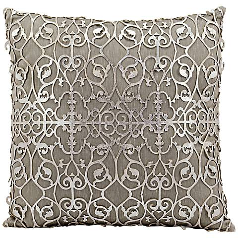 """Mina Victory Laser-Cut Silver Floral 18"""" Square Pillow"""