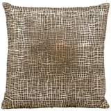 "Mina Victory Laser-Cut Gold Crosshatch 18"" Square Pillow"