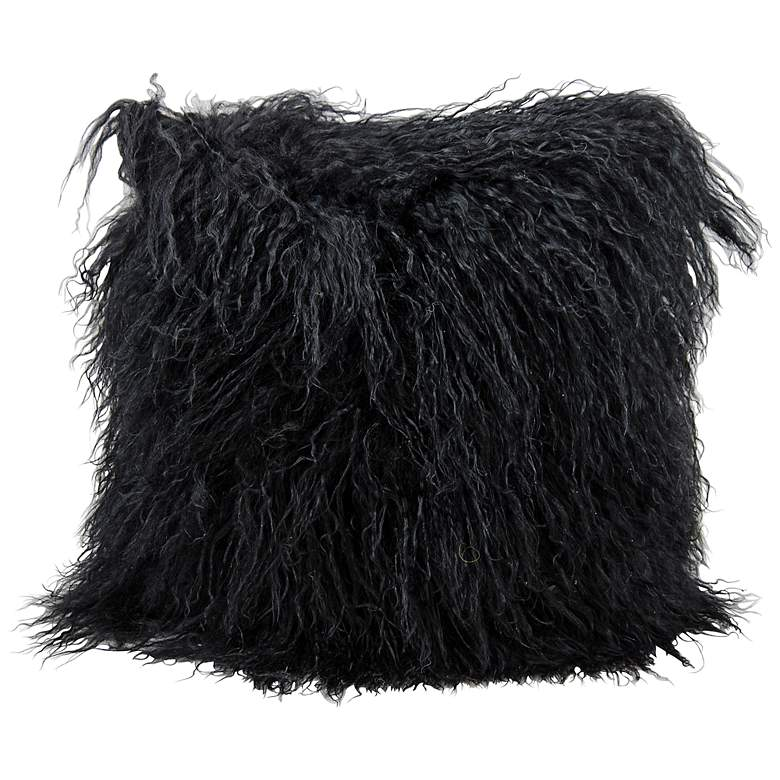 "Mina Victory Tibetan Lamb 16"" Square Black Faux Fur Pillow"