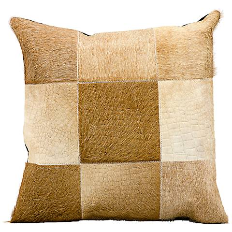 "Mina Victory Beige Natural Hide 18"" Square Leather Pillow"