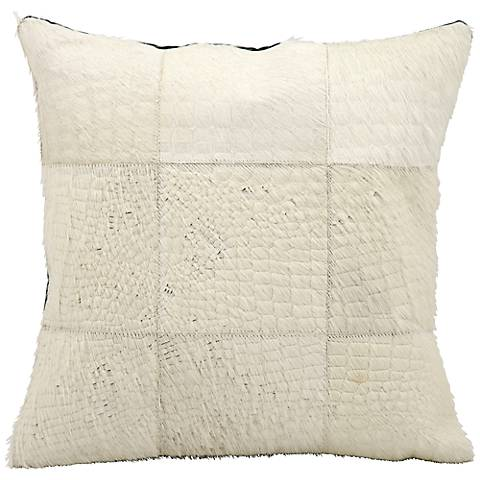 """Mina Victory White Natural Hide 18"""" Square Leather Pillow"""
