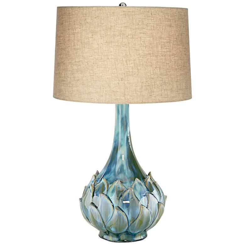 Possini Euro Kenya Blue-Green Ceramic Table Lamp