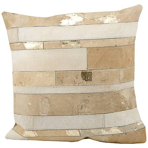 """Mina Victory Beige Natural Hide 20"""" Square Leather Pillow"""