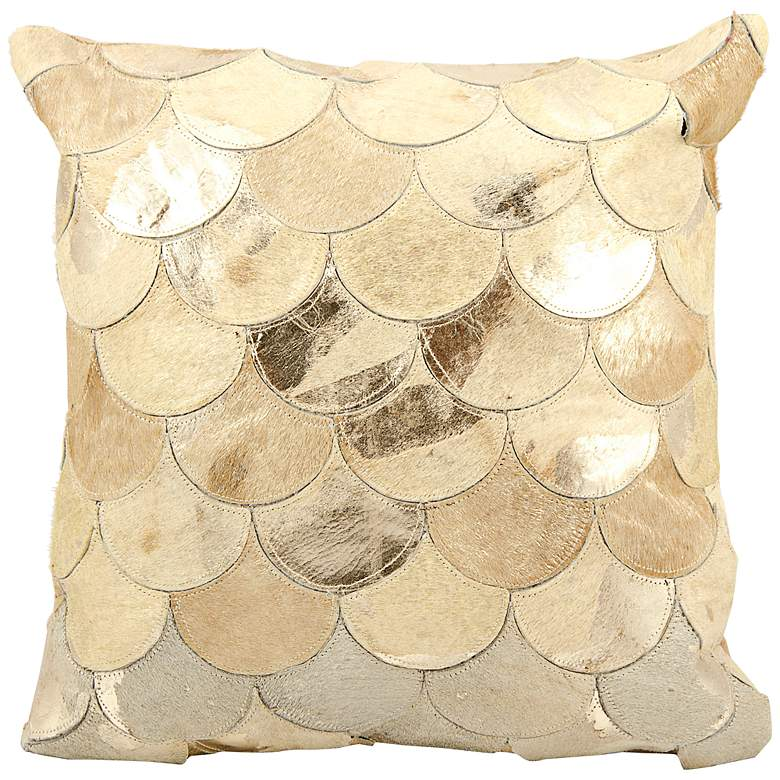 """Mina Victory Gold Scale 20"""" Square Leather Pillow"""