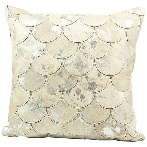 """Mina Victory Silver Scale 20"""" Square Leather Pillow"""