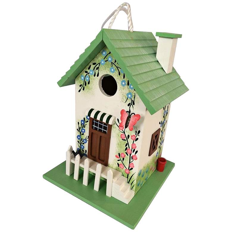 Butterfly White Picket Fence Cottage Birdhouse