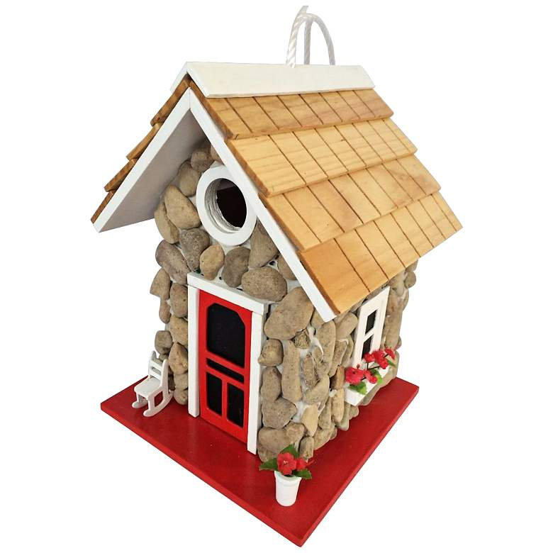 Fieldstone Red Shingled Cottage Birdhouse