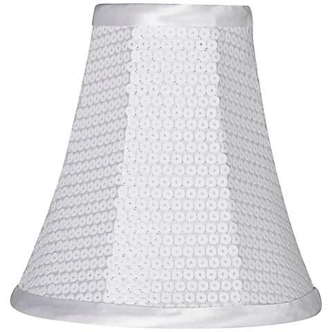 White Sequin Softback Lamp Shade 3x6x6 (Clip-On)