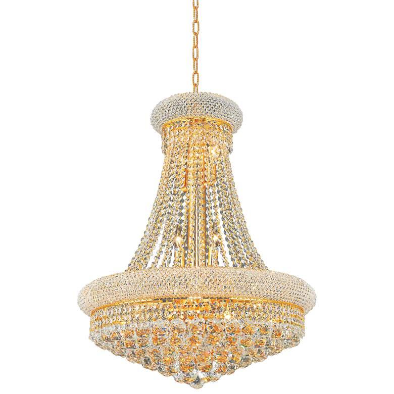 "Primo 24"" Wide Gold 14-Light Crystal Chandelier"