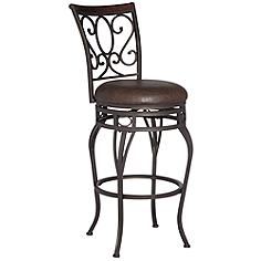 "Trevi Wood and Bronze Metal 26"" Swivel Counter Stool"