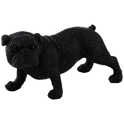 "Black Standing Bulldog 15 3/4"" Wide Sculpture"
